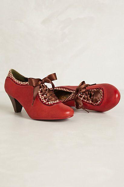 Gingham-Trimmed Oxford Heels